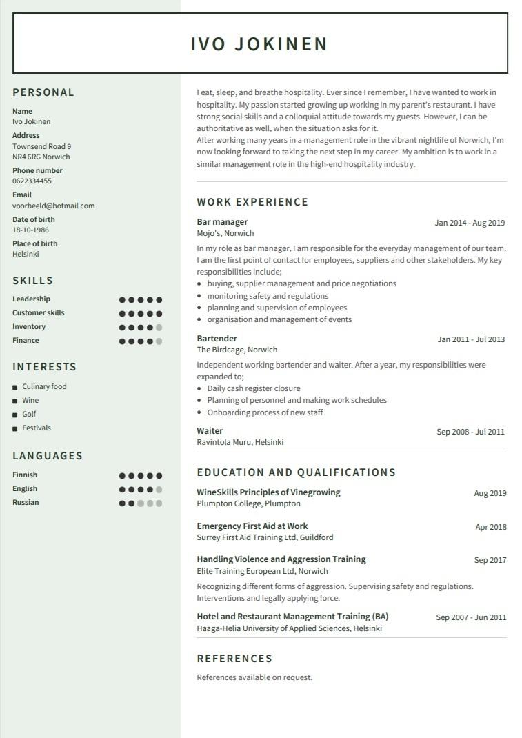 Esimerkki CV englanniksi